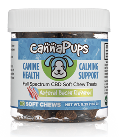"Description   CannaPups Soft Chews are an all natural, organic, grain-free treat infused with Full Spectrum CBD.  Each soft chew contain approximatly 5 mg of CBD and comes with 60 treats.   Reccomended Directions for Daily Use:   Give to dog twice daily or as recommended by your veterinarian. In general, 1 chew for every 30 pounds of body weight is ideal, however you can provide more or less depending on how much your dog responds to.  *  Contains no THC,  CannaPups products will not make your dog ""high"". Many other CBD brands contain trace amounts of THC, but ours contains ZERO. All of CannaPups CBD oil is third party tested and is legal in all 50 states.  CannaPups CBD Oil is non-GMO.    Features   CannaPups Soft Chews are made with Human Grade ingredients. Promotes a calm demeanor in anxious dogs.Helps with chronic pain and inflammation, great for your aging pup.Encourages a healthy appetite and fights nausea."