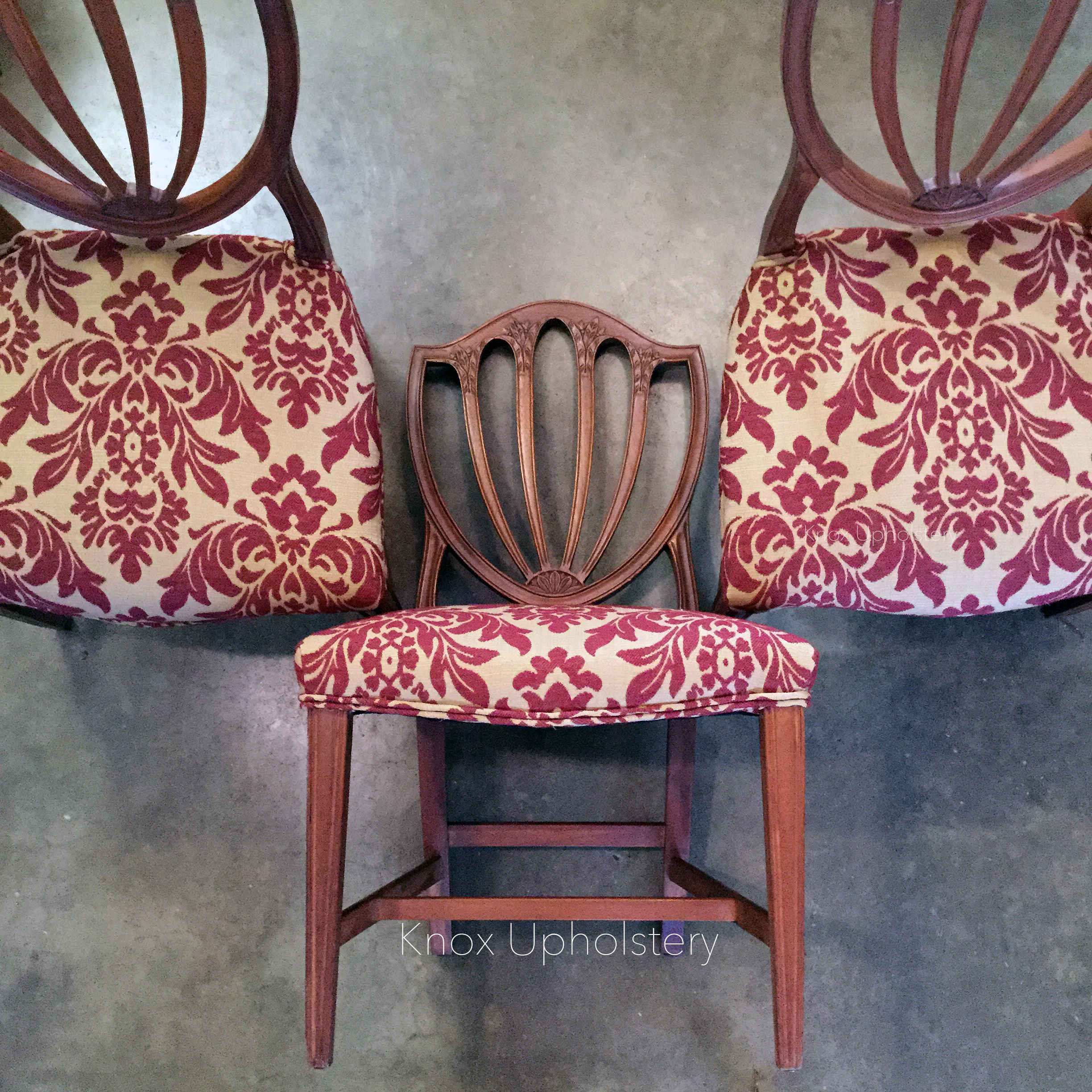 Hepplewhite chairs upholstered by Rachel Fletcher of Knox Upholstery, Knoxville, Tennessee