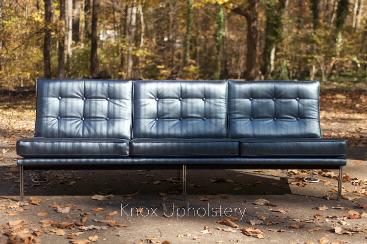 A Knoll sofa upholstered by Rachel Fletcher of Knox Upholstery, Knoxville, Tennessee