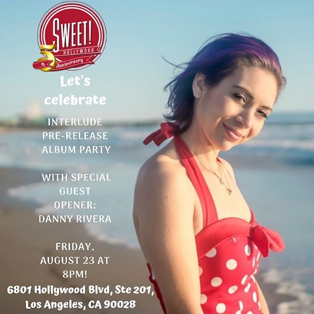 RELEASE ANNOUNCEMENT PART 1:  The Interlude album release is approaching. Come party with me! Friday, August 23 at Sweet! Hollywood *private venue* Doors 7:30PM.  Showtime: 8PM with special opening guest @dannyriveramusic . . I'll be doing a live concert with the band and everyone who attends will get a signed poster and a CD copy of the Interlude album before its official global release. Not only that...One lucky fan will walk away with a guitar from my sponsor @LunaGuitars and that fan could be YOU! There is limited seating so please grab your tickets before it's too late!  Tickets link in my profile bio. . . #hurry #interludealbum #emergingartist @lunaguitar @cleartonestrings @empireears @sweethollywoodcandy #polkadotdress #purplehair #livemusic #sing #artist #singersongwriter #hollywood #streetperformer #sweethollywood #music #love #inspired #mydailylight