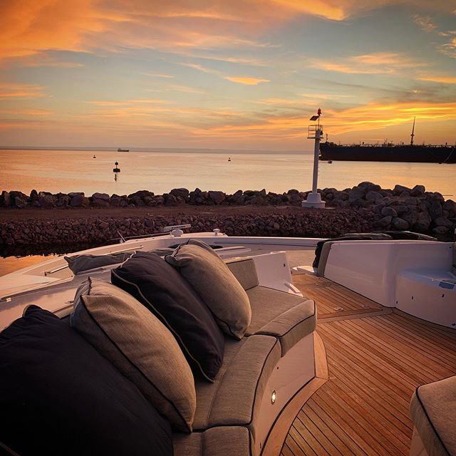 Sunset time onboard Sunseeker G5 where we modified the entire bow area to create an entertainment outdoor living space using @esthec fabrics throughout.⠀ .⠀ .⠀ #ramonalonsodesign #radyca #radycadesign #arquitecture #design #interiordesign  #decoration #decor #designconcept  #lifestyle #superyachts #yacht #luxury #superyacht  #architecture #onlyforluxury #UHNWI #megayacht  #luxurylifestyle ⠀ Builder: @sunseeker_int ⠀ Design: Radyca Design⠀ Photo: @ramonalonsooc