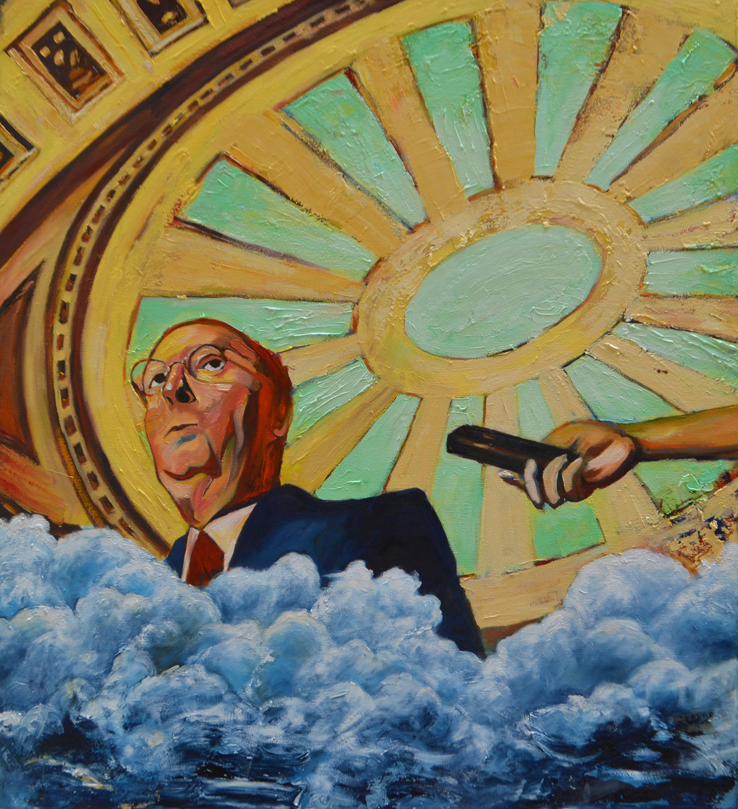 """The Apotheosis of Mitch McConnell  2018 oil on canvas 44 x 40"""""""
