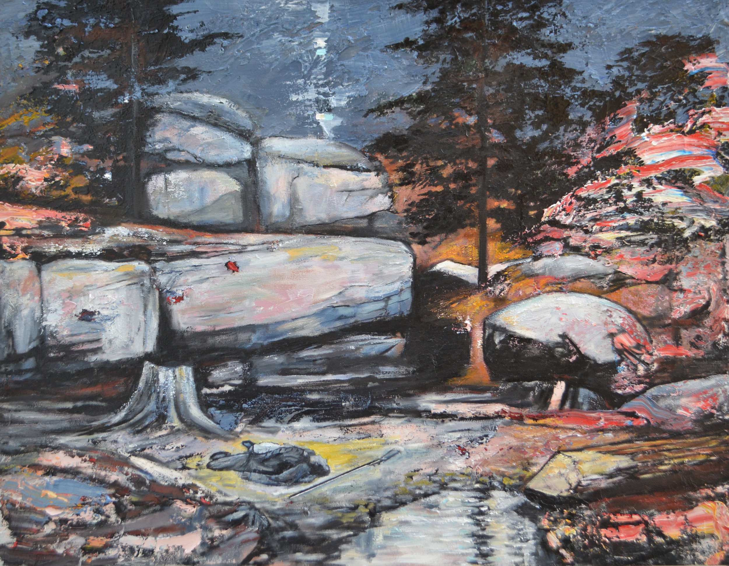 "Devil's Den – 1863  2016 oil on canvas 26 x 38"""