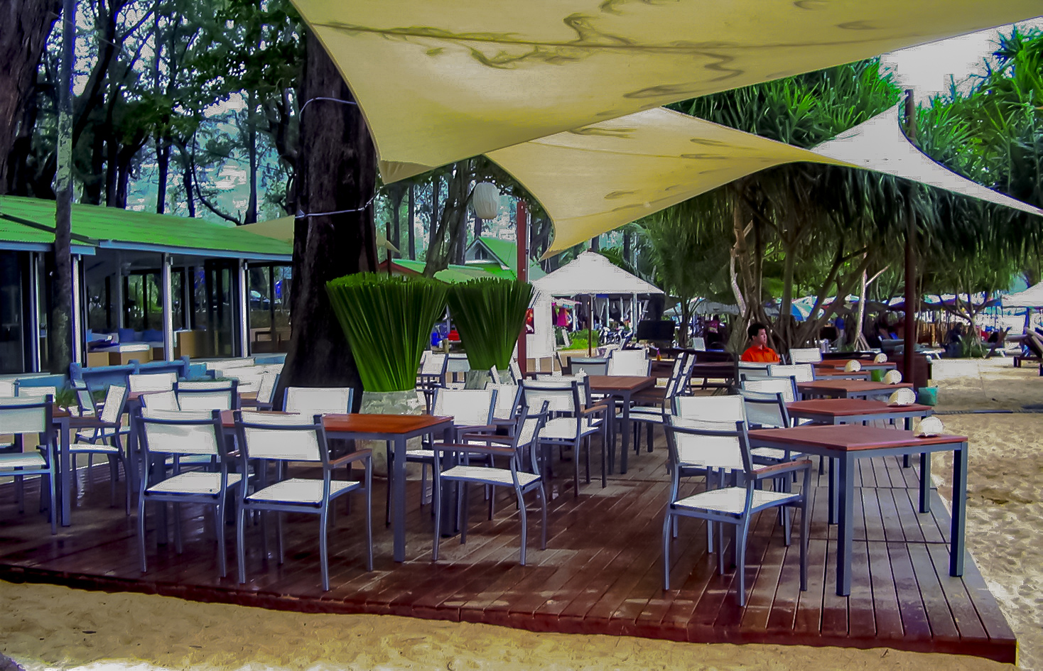 Core Teak and Powder Coated Aluminum 4 top and 6 top tables and matching Ultimate Chair copy.jpg