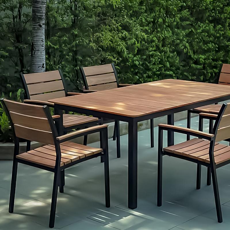 Core Teak and Powder Coated Aluminum 6 top table and matching Teak Ultimate Chair closeup copy.jpg