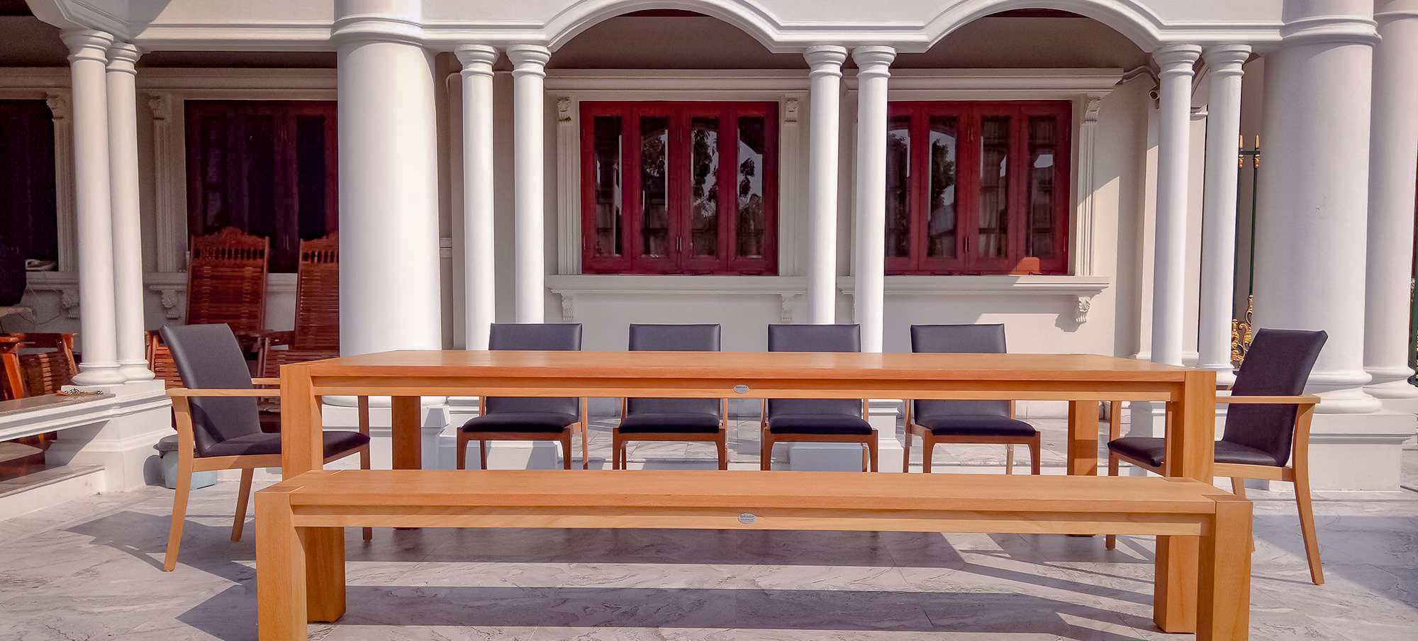 Haven Teak 10 top dininig table with matching chairs and bench copy.jpg