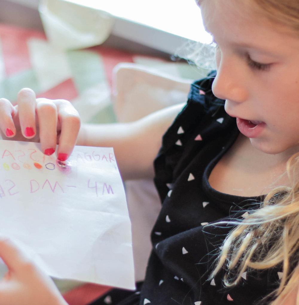 Bibbi now loves to practice letters.