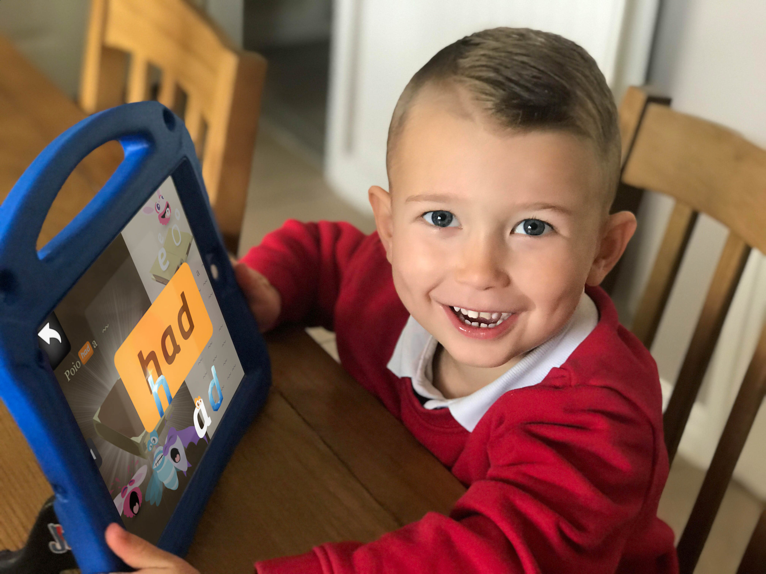 Joanne's son having fun while learning to read with Poio. (Photo: Private)