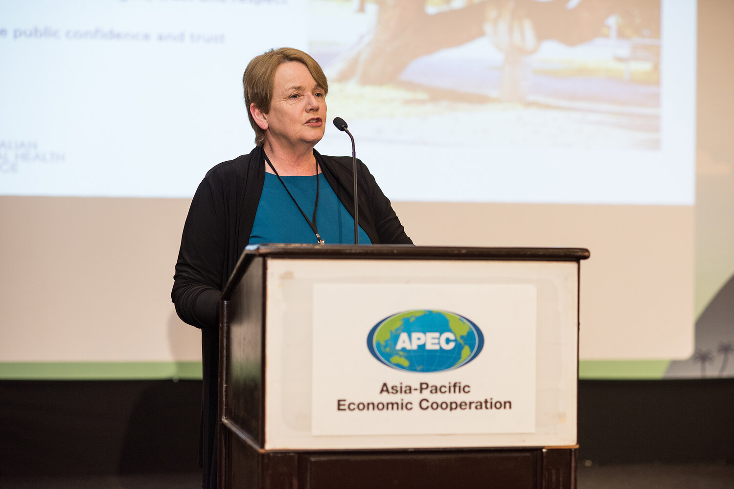 Alison Verhoeven, Chief Executive of the Australian Healthcare and Hospitals Association, presenting the Plenary Session at the 2019 APEC Forum