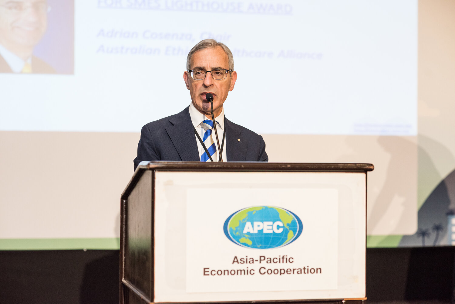 AEHA Chair Adrian Cosenza presenting the Plenary Session at the 2019 APEC Forum