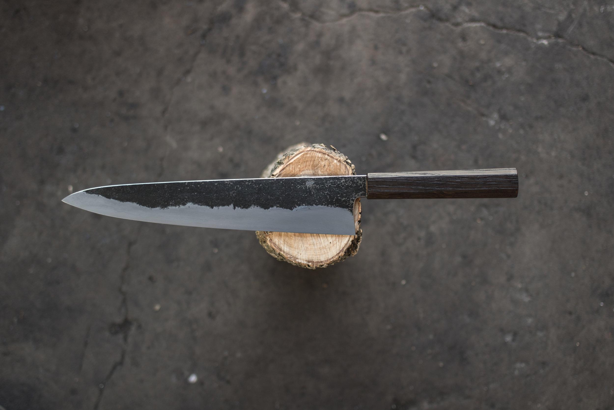 Wrought Iron Clad carbon core, Bog oak handle.