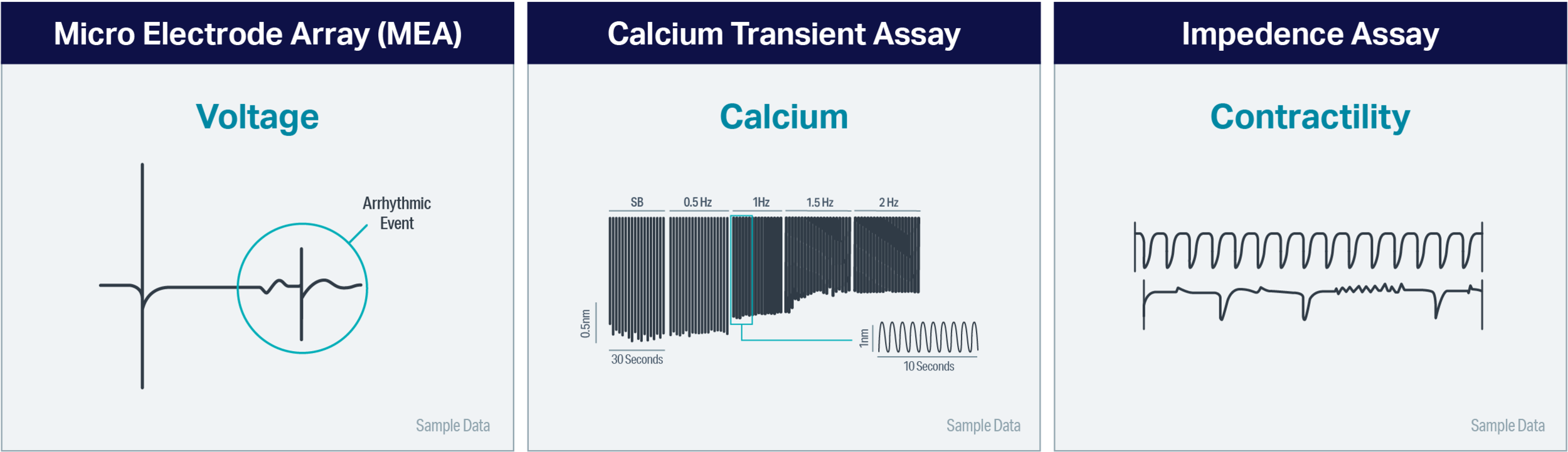 To achieve critical read-outs of voltage, calcium and contractility with other types of assay three distinct experiments must be conducted