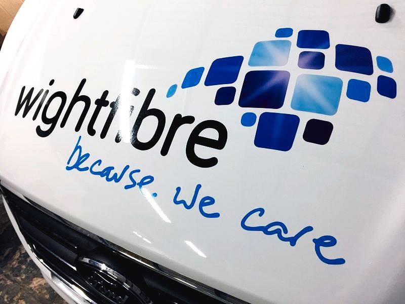 Wightfibre van logo close-up