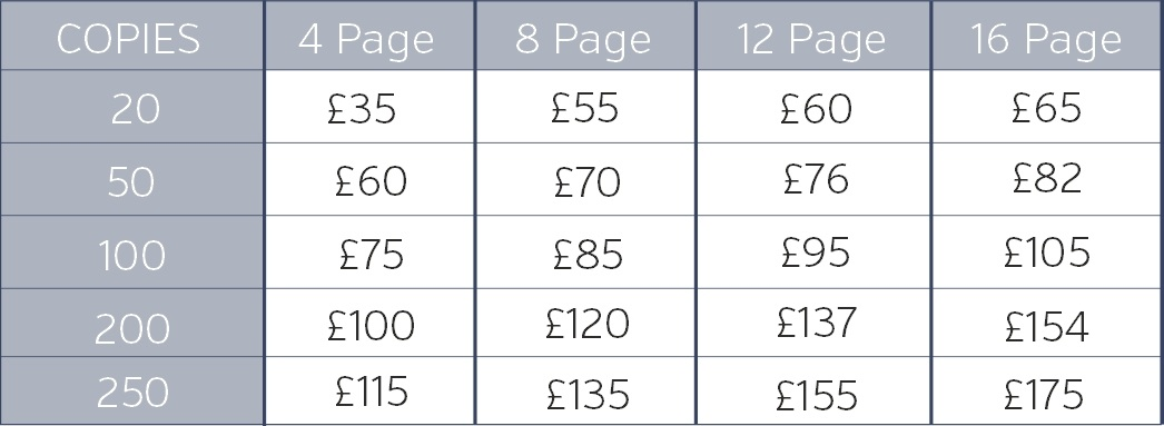 Prices above do not include design or setup costs, please contact us for further support.