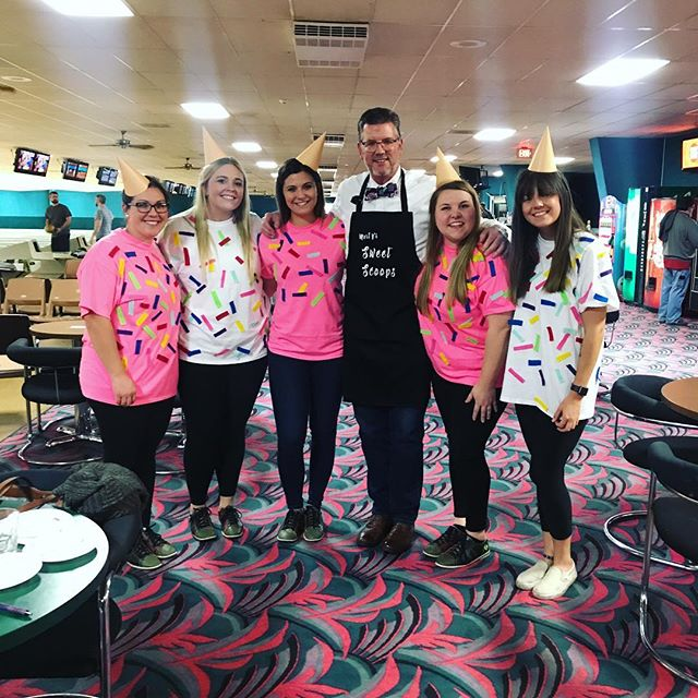 It's the annual Toledo IIDA bowling event!! @americaninteriors thank you for teaming up with Seibold + Baker and winning Best costumes with us! #weallscreamforicecream #iddaa #toledo #industrynight #contractfurniture #martyssweetscoops