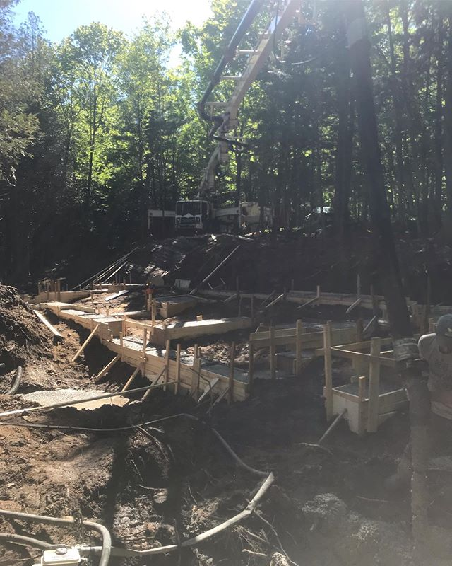 32m of concrete poured to start off a new cottage build in Kennebec Shores. #tarasickcarpentry #carpentry #concrete #kennebecshores #centralfrontenac #infrontenac #footings
