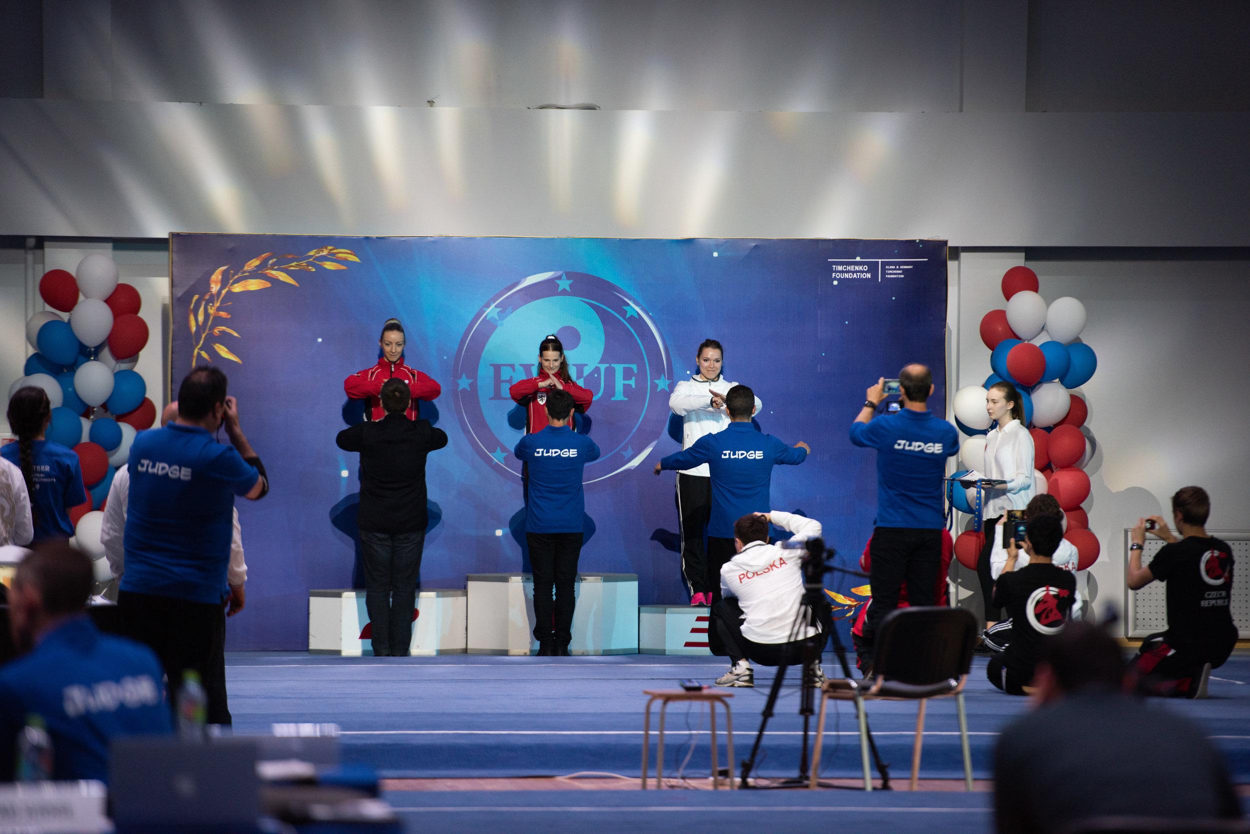 Dekoracja podczas 5 Mistrzostw Europy Wushu Tradycyjnego (2018)