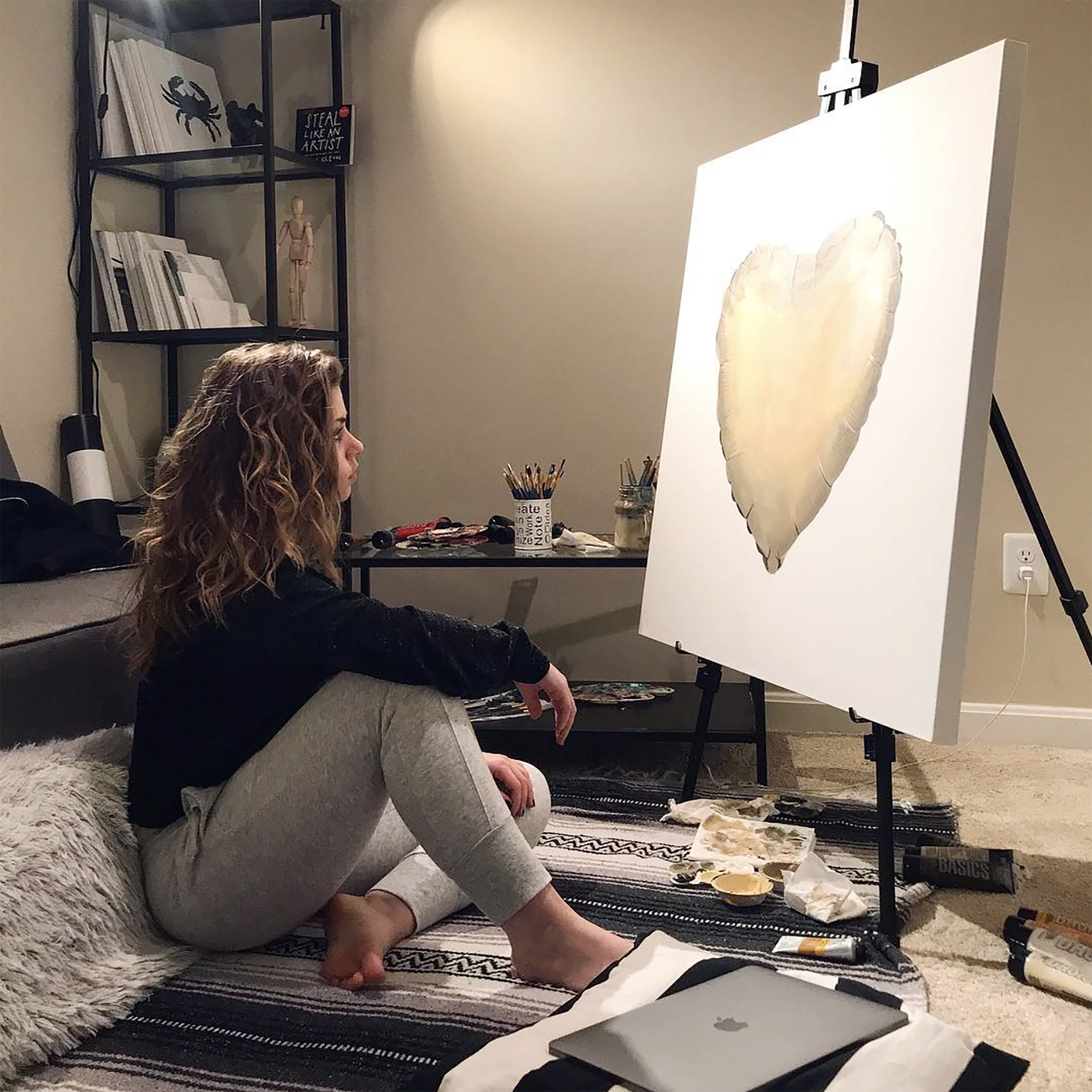 This photo features the 36x36 in. original painting, Heart of Gold (2019), in progress.