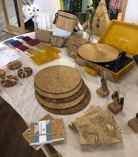 A variety of gift items made of cork on display at CorkHouse Savannah, GA, USA. One of Jelinek Cork Group's showroom locations in the United States.