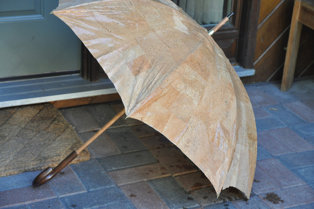 Cork fabric with a water-proof backing, perfect for umbrellas.