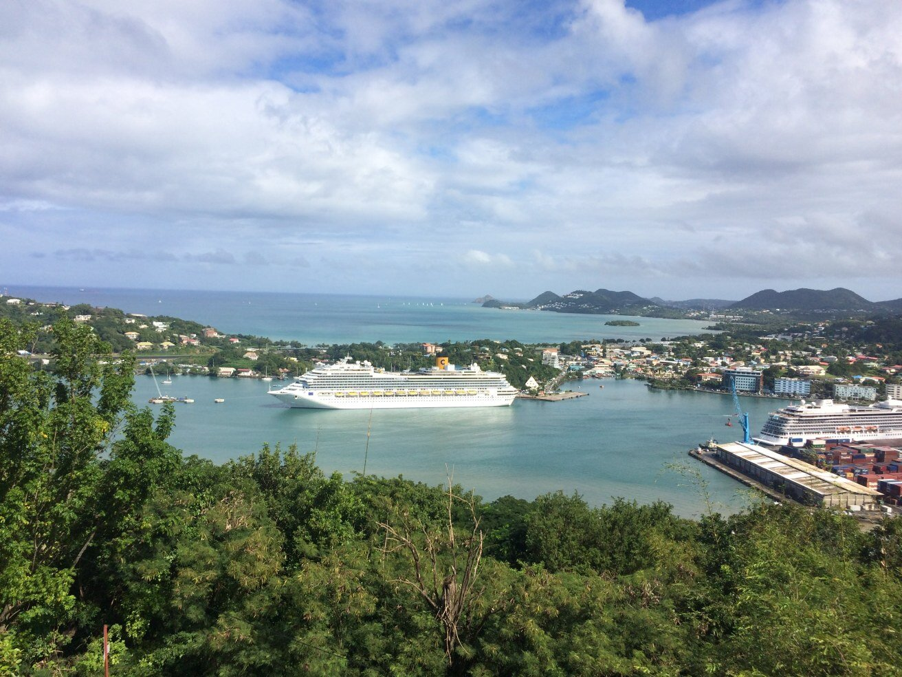 The Castries Harbour where many cruise ships come in.