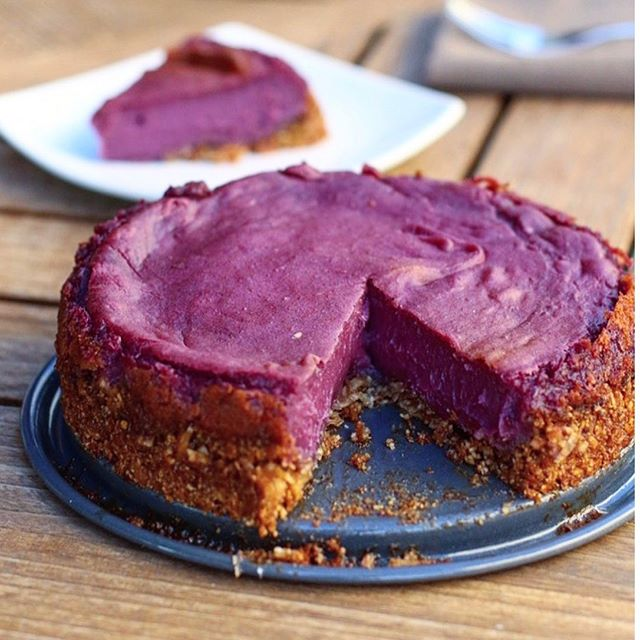 Purple Sweet Potato Pie is a thing. My recipe is entirely gluten free, dairy free, refined sugar free and vegan, but you would never know it. I have made this pie on several occasions and everyone goes crazy for it. Not only is it so beautiful to look at, the taste is something truly spectacular. Purple sweet potatoes are LOADED with antioxidants and one single sweet potato contains more than 200% of your daily serving of Vitamin A. They also contain iron, copper, Vitamin E and Vitamin C. You can find these little guys at your local health food store, or any Asian market should carry them. Recipe below: #VEGAN #PALEO #glutenfree FREE PURPLE SWEET POTATO PIE (makes 1 pie) For the pie filling: 2 lbs of purple yams (you can use orange sweet potatoes if you can't find purple!), peeled and cut into 1 inch rounds ½ cup maple syrup ¾ cup cannedcoconut milk 2 tablespoons tapioca starch 2 teaspoons cinnamon (you can also use pumpkin pie spice if you'd like) 1 teaspoon salt 1 teaspoon vanilla extract For the grain free crust:  ¼ cup coconut oil, melted ¼ cup honey (or sub maple syrup) 1 cup almond meal 1 cup unsweetened shredded coconut ½ teaspoon sea salt ½ teaspoon baking soda OR 1 store bought crust (regular or gluten free!) FOR THE GRAIN FREE CRUST: Preheat the oven to 350 degrees. Grease the bottom and sides of a 9″ pie pan with coconut oil. Mix all the crust ingredients in a large bowl then transfer them to the pie pan. Wet your hands and then press the crust into the pan, making sure it is even. Bake the crust in the preheated oven for 10 minutes. Set aside. Bring a medium sized pot of water to a boil. Add the purple yams and boil for 10 minutes. Drain the yams and put them in a blender or food processor. Add the maple syrup, coconut milk, tapioca starch, cinnamon, salt and vanilla. Blend until smooth. Pour the batter into the pie crust and bake for 45 minutes. If the edges of pie start to brown to quickly, create a ring of aluminum foil and place on top of the edges t