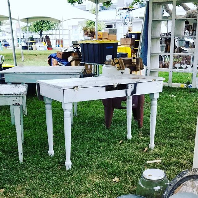 SET-UP has begun! We are busy getting ready for you to come shop this weekend at #theoldtownfleamarket! Get your tickets and #comeshopwithus #oldtownclovis #bestweekendever #getyourticketsnow