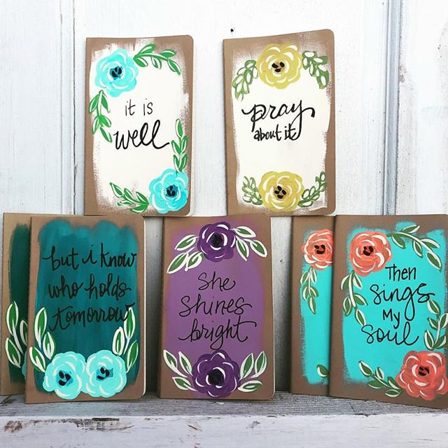 Hand painted journals by @denielejoy #joygirldesigns will be available at #theoldtownfleamarket aren't they so cute?! #comeshopwithus #oldtownclovis #bestweekendever