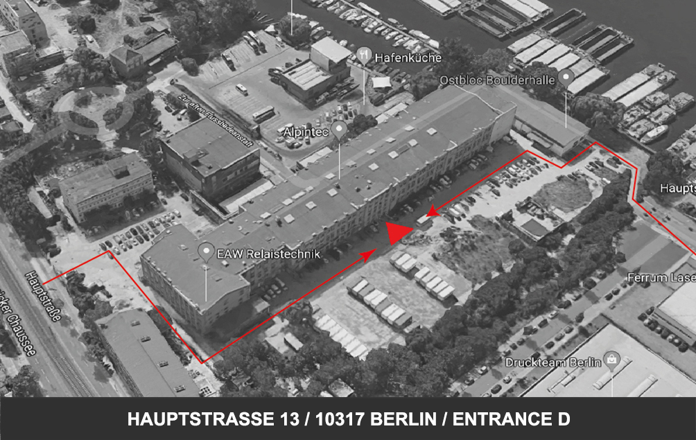 .how to find us - public: tram m21 / gustav-holzmann-str. car: there are plenty parking lots on the backyard. bike: take the super nice bicycle path next to the river spree. the entrance D is at the backside of the building. if you enter from hauptstraße walk into the courtyard and pass the building on your left. if you come from the side of the spree, pass the climbing hall