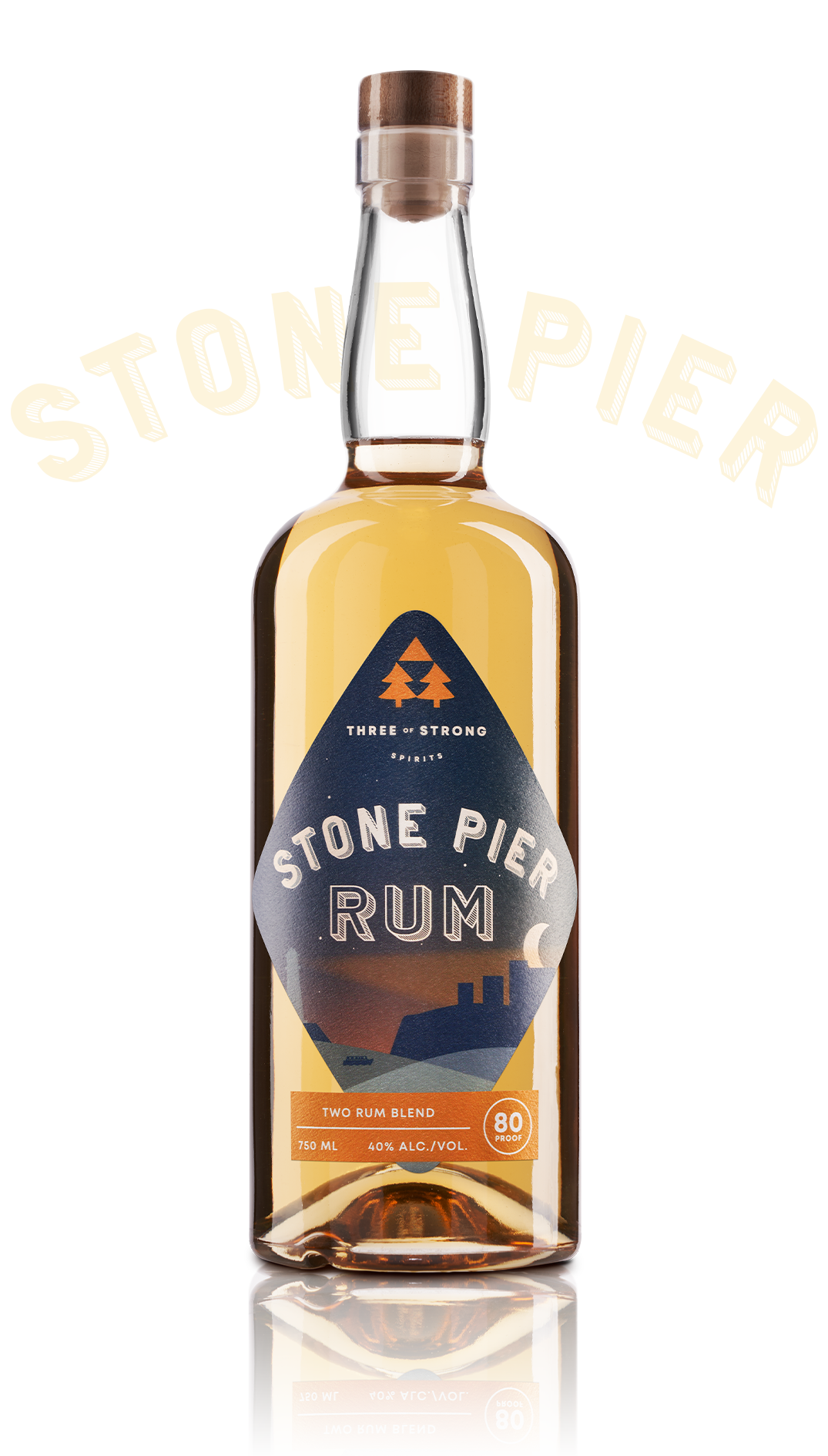 three of strong spirits, stone pier rum