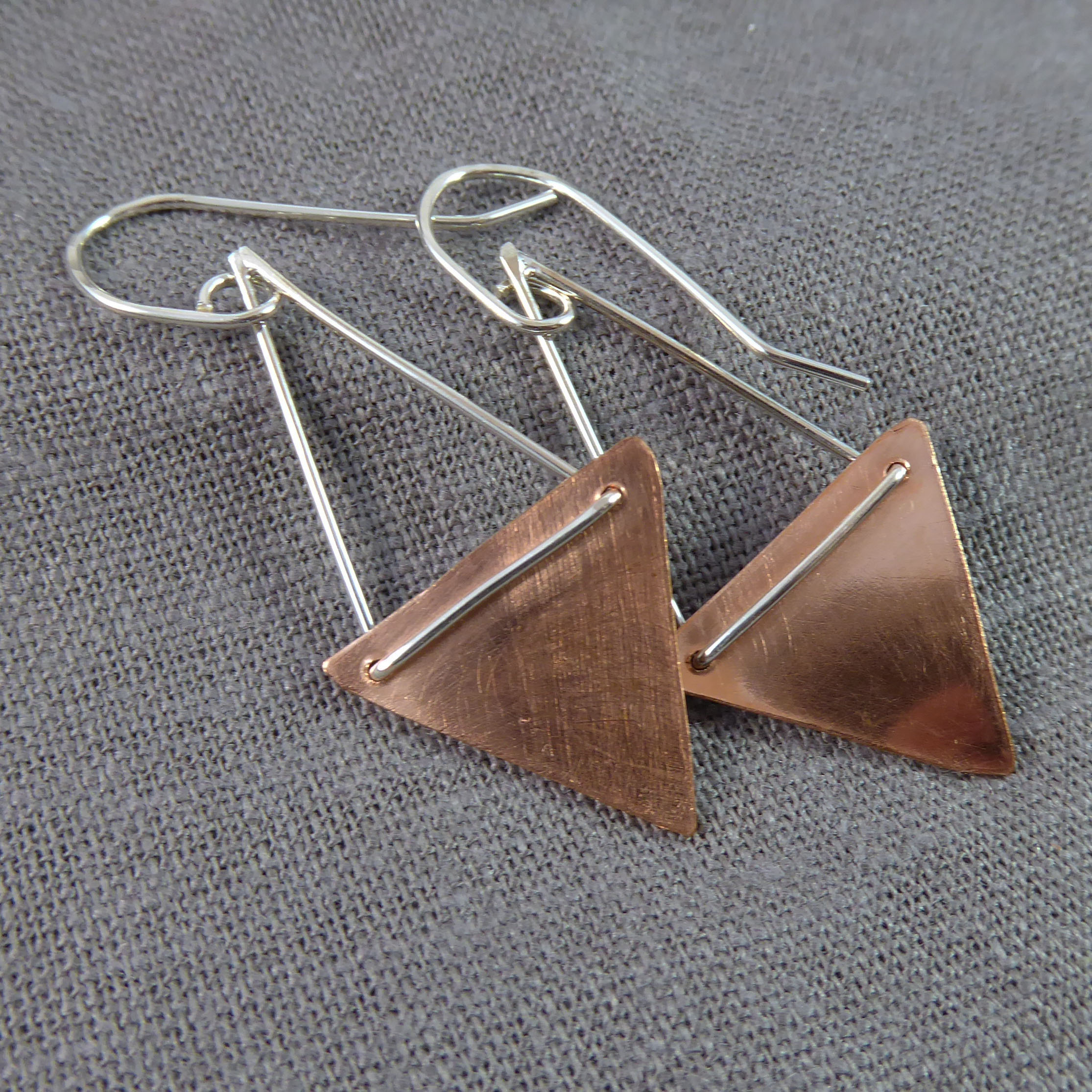 Copper Triangles, Sterling Hangers
