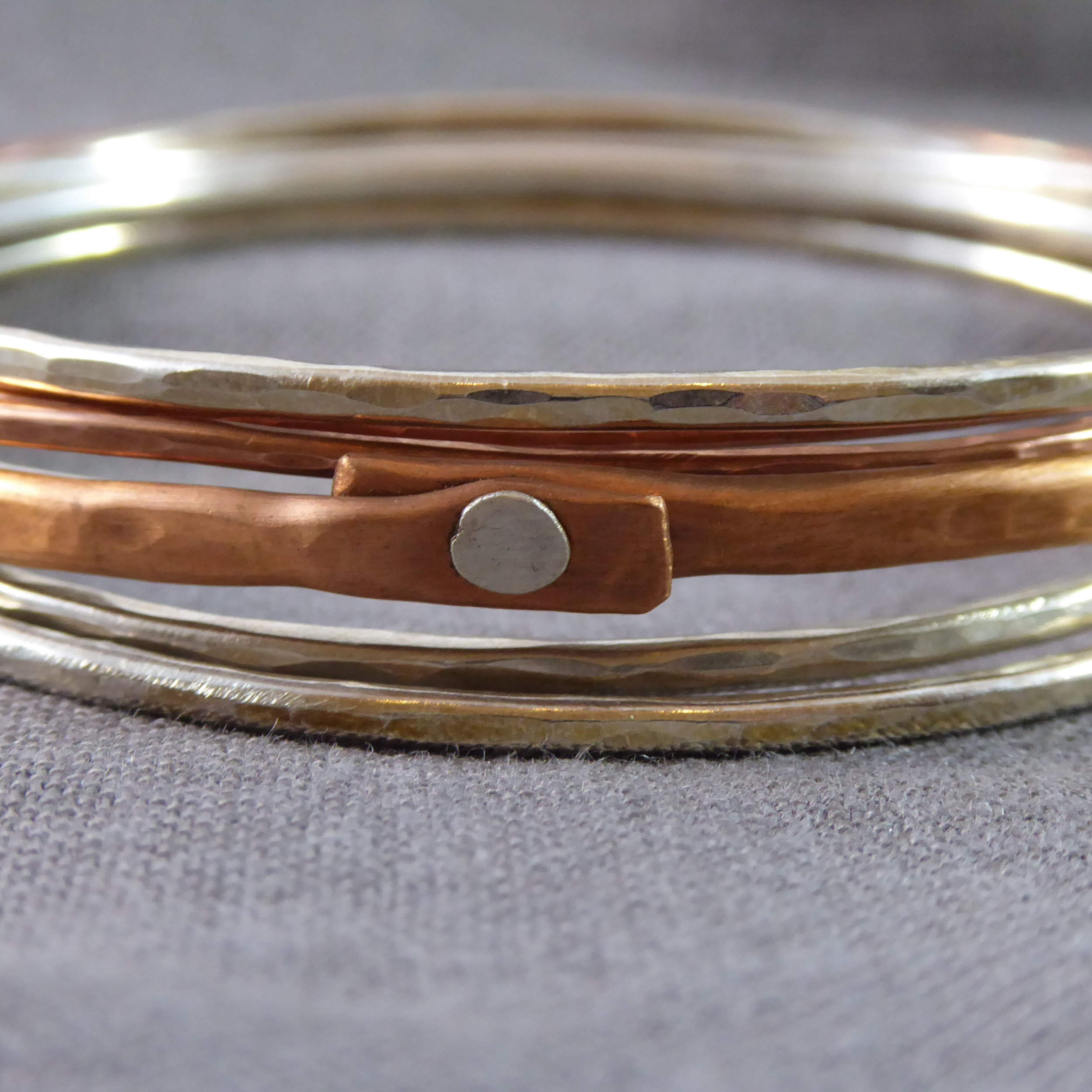 Sterling Silver and Copper Bangles
