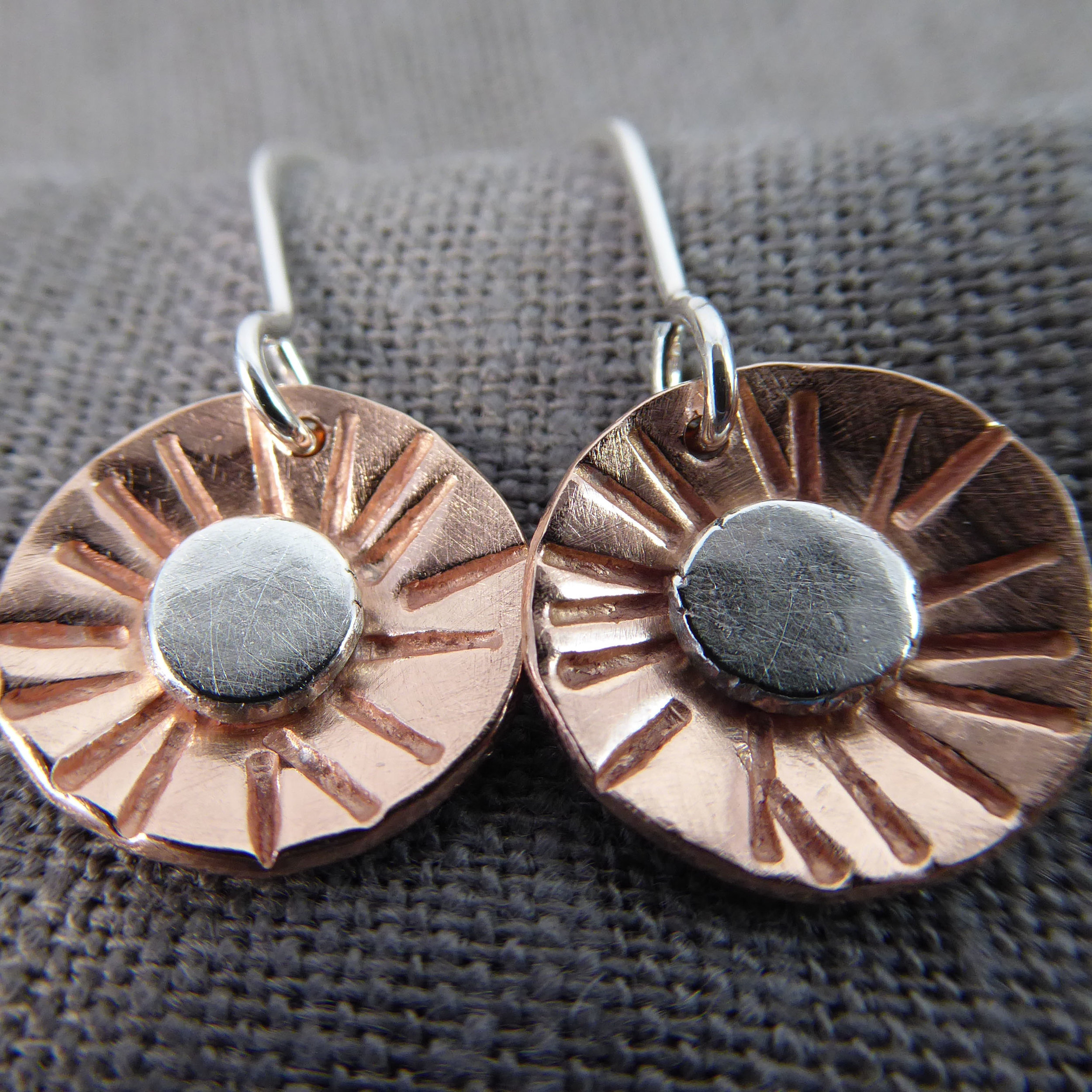 Textured Copper Rounds with Sterling Buttons