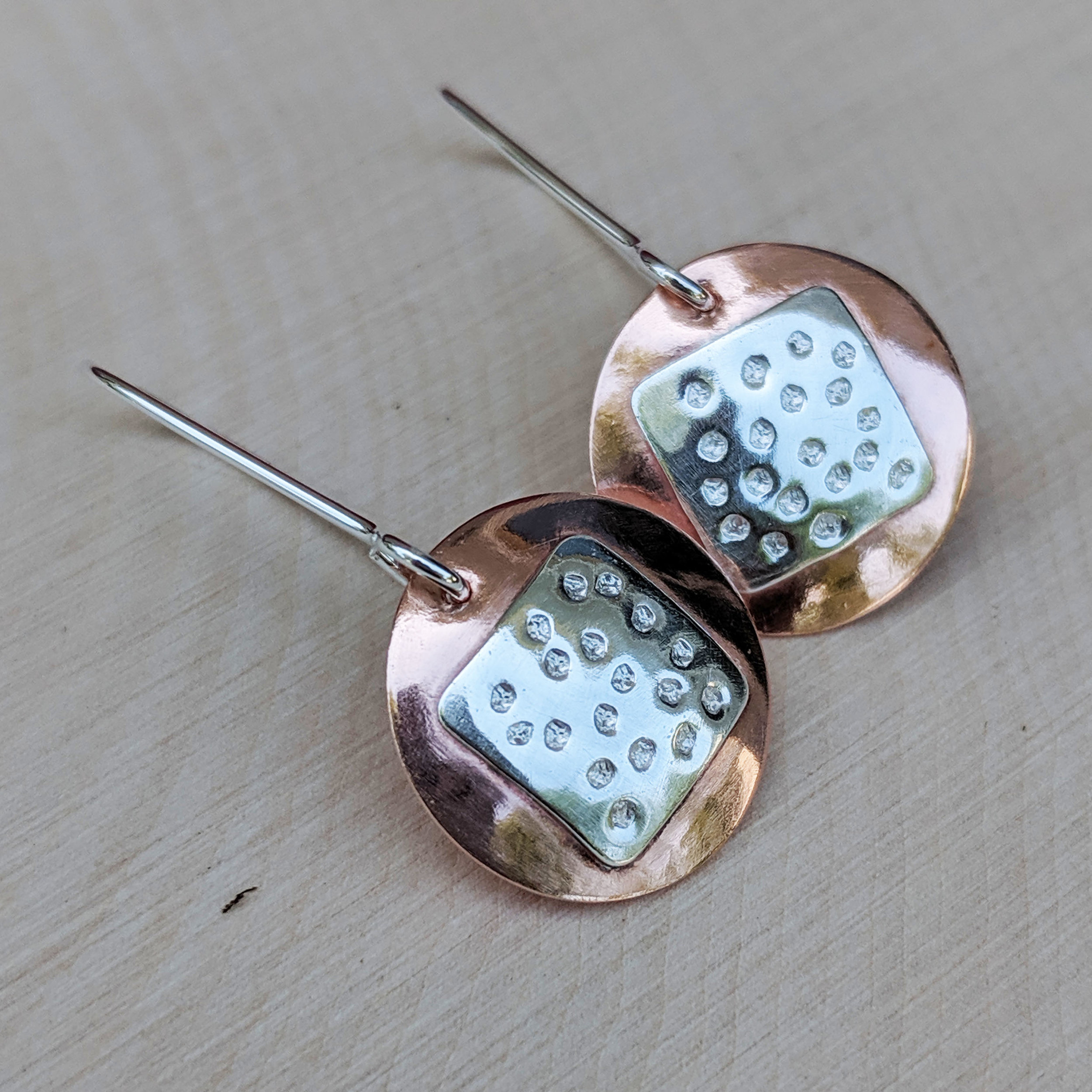 Copper Round, Textured Silver Square