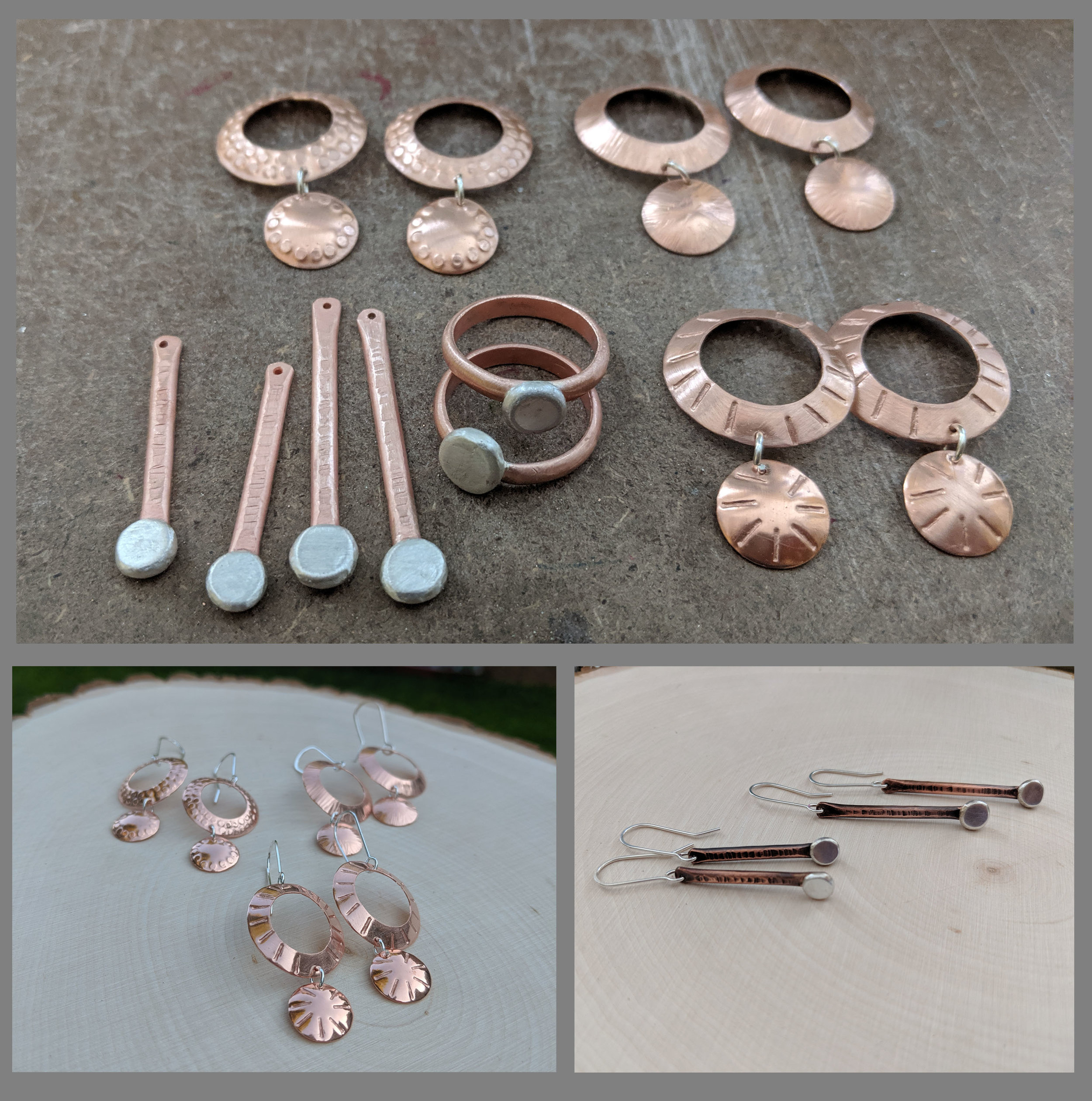 At top, earrings and rings in progress; below, finished earrings.