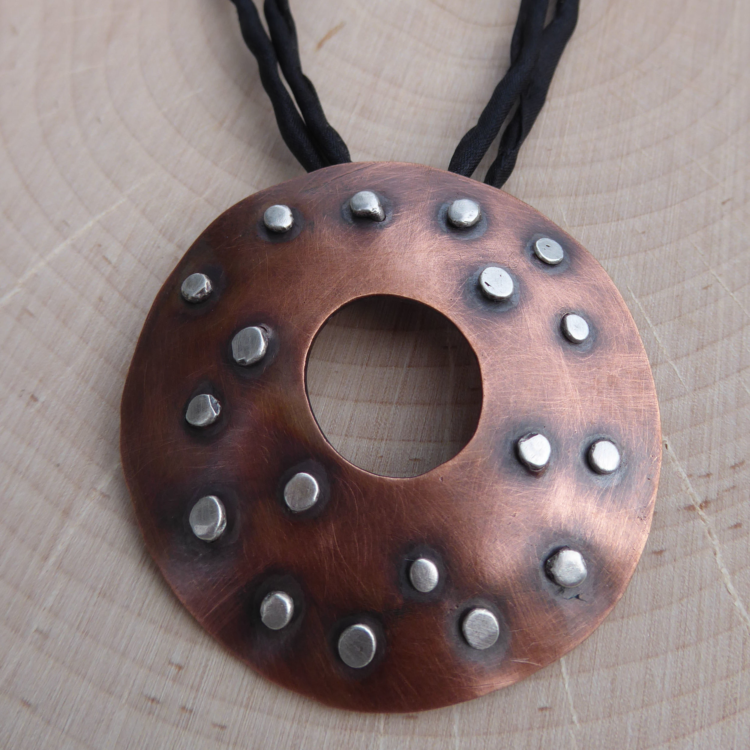 """Copper and Sterling """"Shied"""" Pendant"""