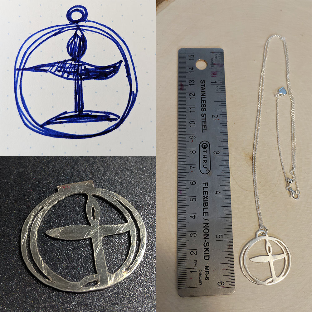 Top left is the sketch I sent. Below that is the pendant in progress. The photo at the right is the completed piece.