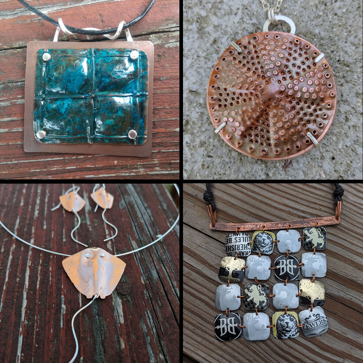 """Challenge pieces, clockwise from top left: """"Blue"""" (for """"Blue"""" show), copper side of """"Diatoms"""" (for Botanical show), bottle cap necklace, (for """"Recycled""""), and """"Sting Rays"""" (for """"Animal Kingdom"""" show)."""