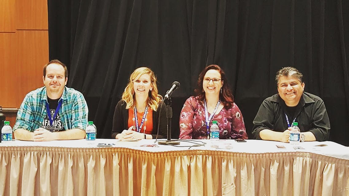 (left to right) Authors Joe Shine, Becky Wallace, Kristy Acevedo, and Manuel Ruiz on World Away panel