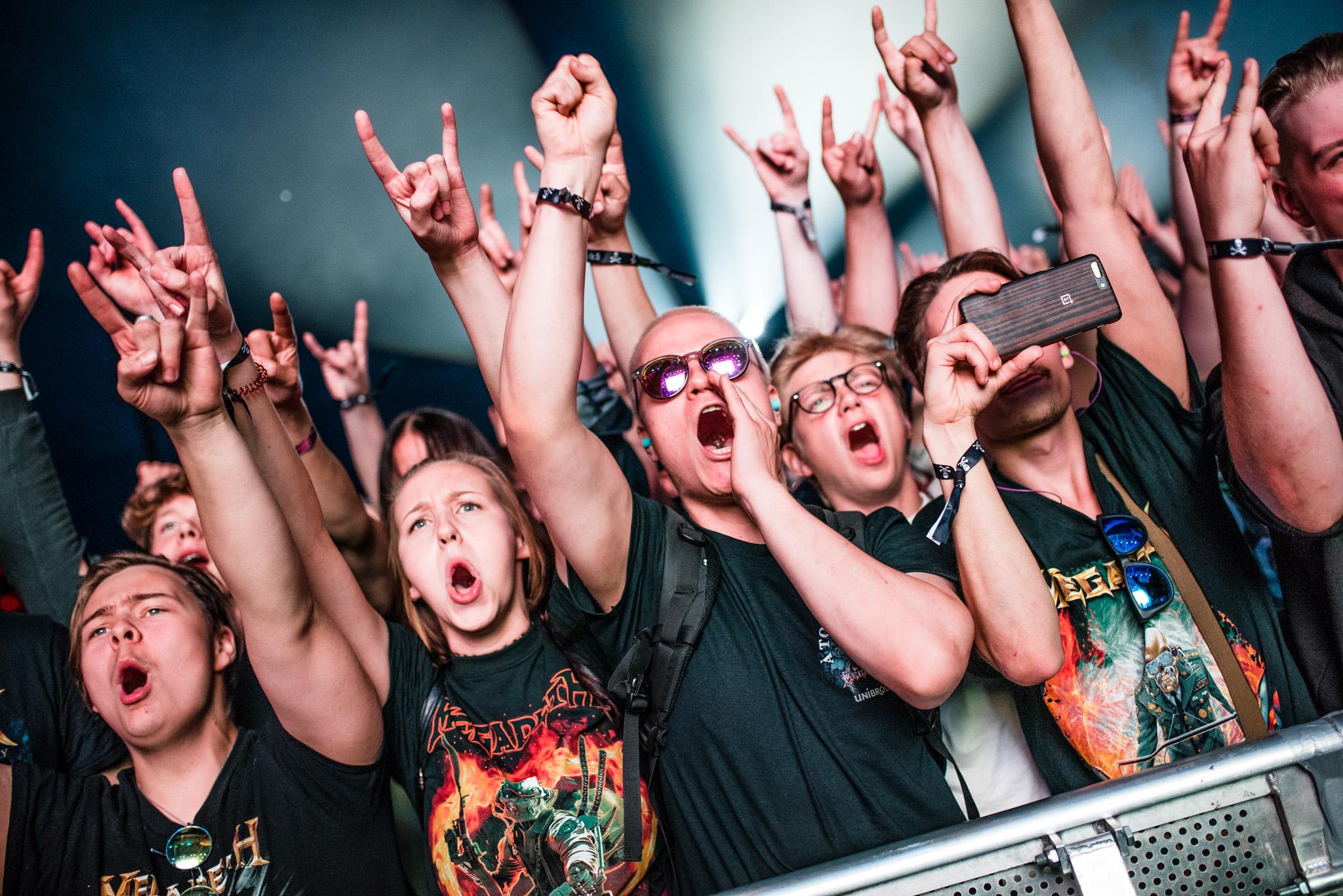Yleisöä Megadethin keikan aikana, Kuopio Rockcock 2017.