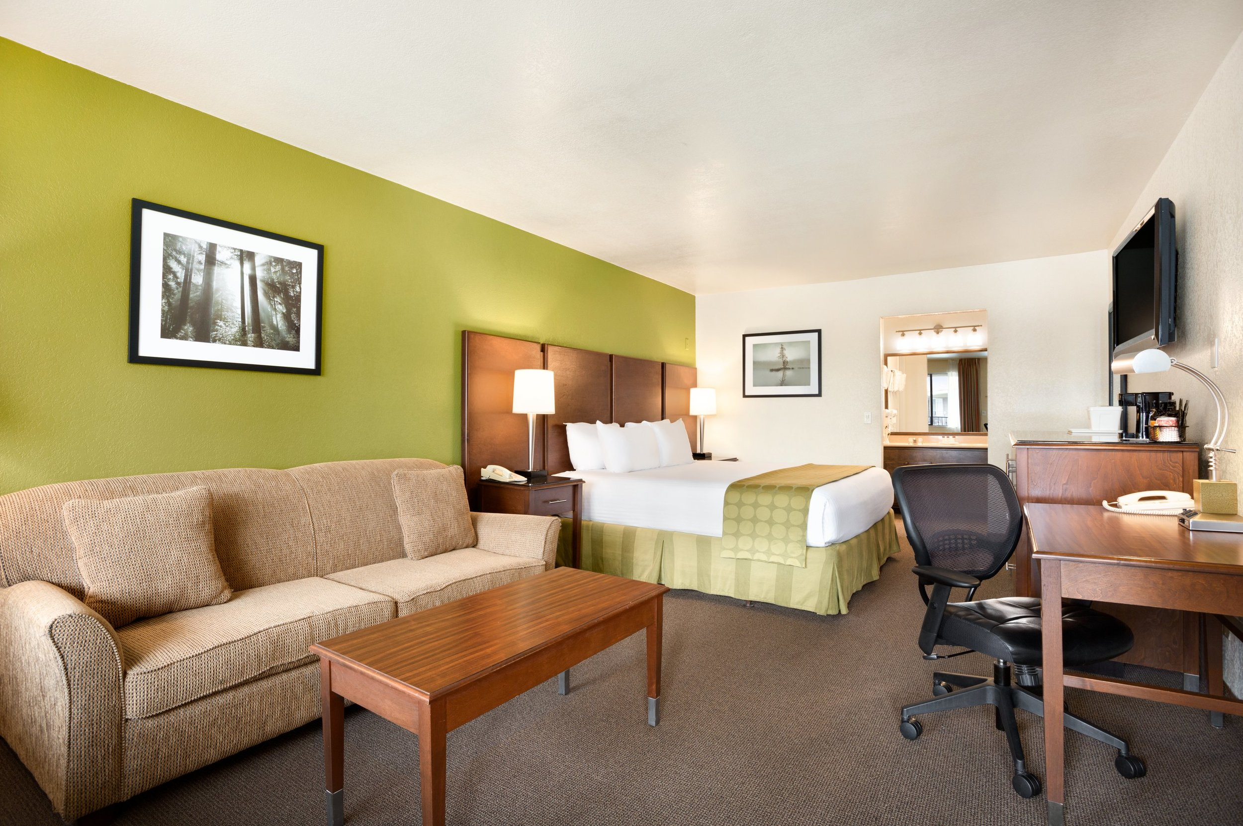business class king - Our Business Class King is uniquely designed to accommodate business travelers and those looking for an elevated stay in San Diego. With a generous amount of living space and the addition of a queen-sized sleeper sofa, this room can comfortably house up to 4 guests. Spend your days enjoying our dynamic property, which is expertly designed to meet your every need.Max 4 Guests 1 King Bed, 1 Sofa Bed