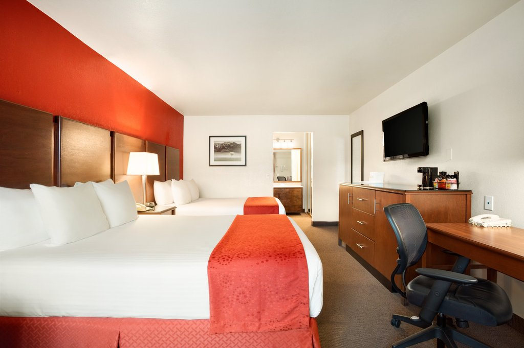 Accessible Two Queen - Guests with accessibility needs will enjoy a relaxing getaway in our charming Accessible Two Queen Room. This San Diego accommodation boasts all the amenities of our Standard Two Queen Room, like our pillow-top mattress and flat-screen TVMax 4 Guests 2 Queen Beds