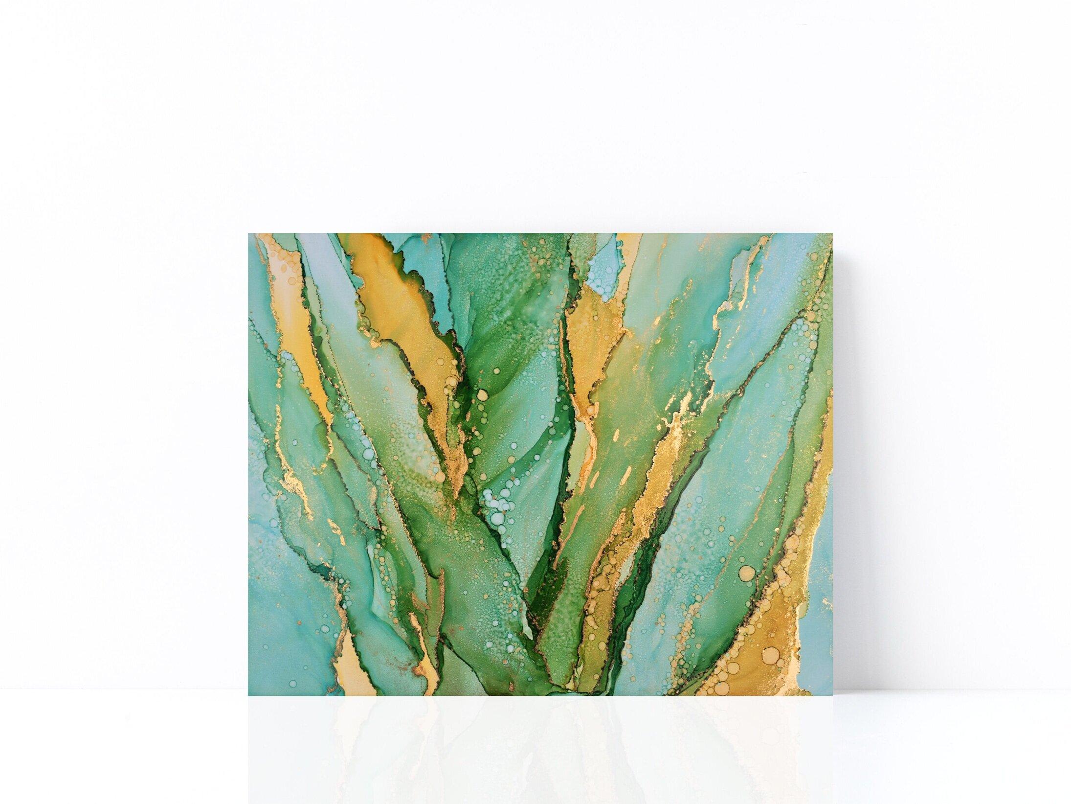 """""""Ocean Plants Flow"""" - Alcohol Ink on Yupo (11""""H X 14""""W) © Sophie Ledemé 2019"""