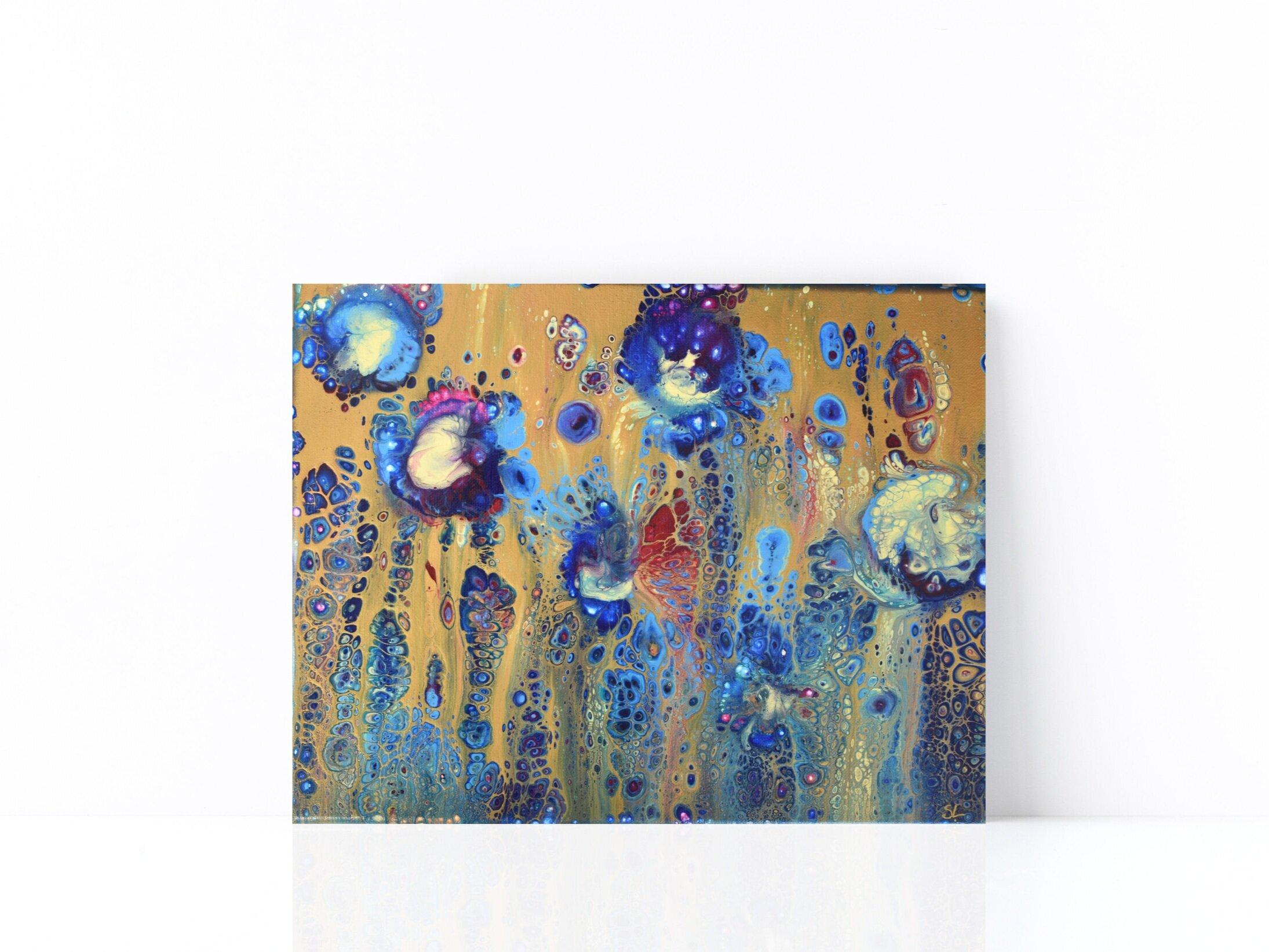 """""""Royal Blue & Gold Flower Dance"""" - Acrylic Flow (11""""H X 14""""W) © Sophie Ledemé 2019"""