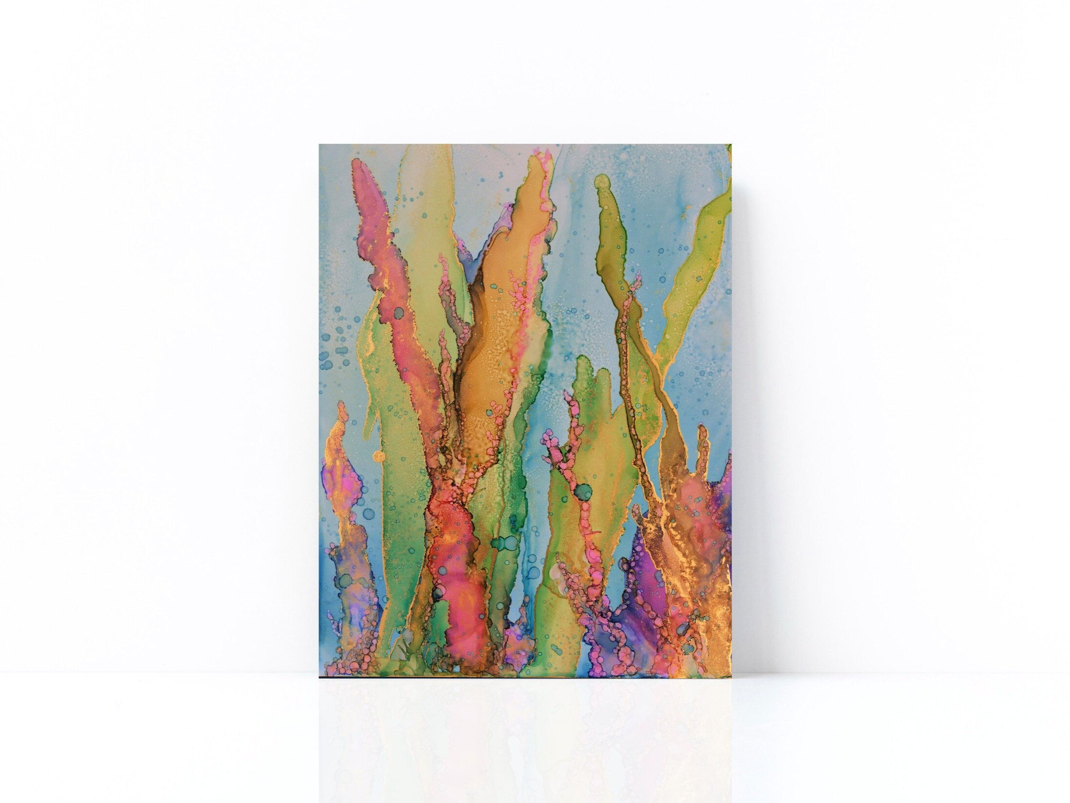 """""""Coral Dance"""" - Alcohol Ink on Yupo (14""""H X 11""""W) © Sophie Ledemé 2019"""
