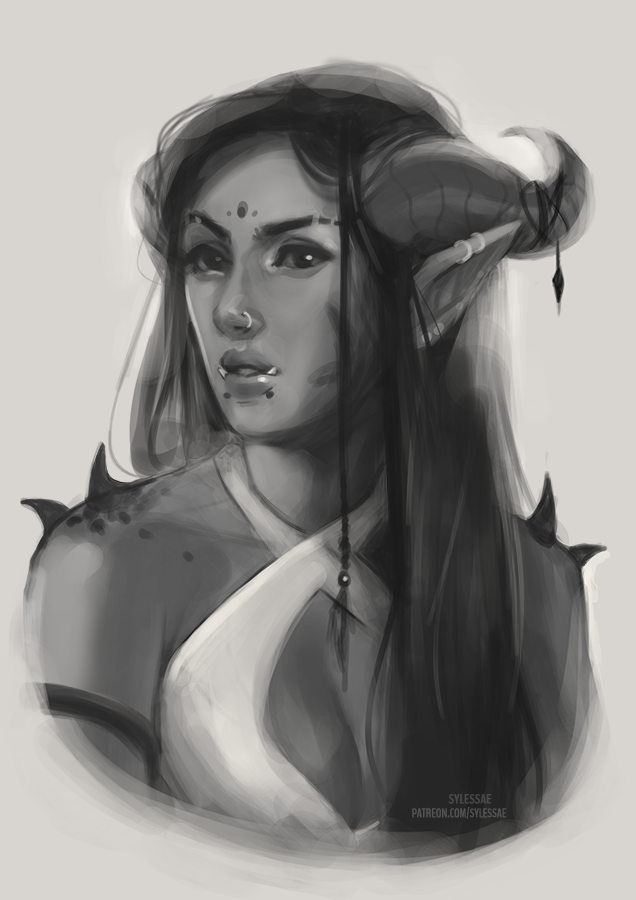 What do you mean? Of course I drew a lady with horns.