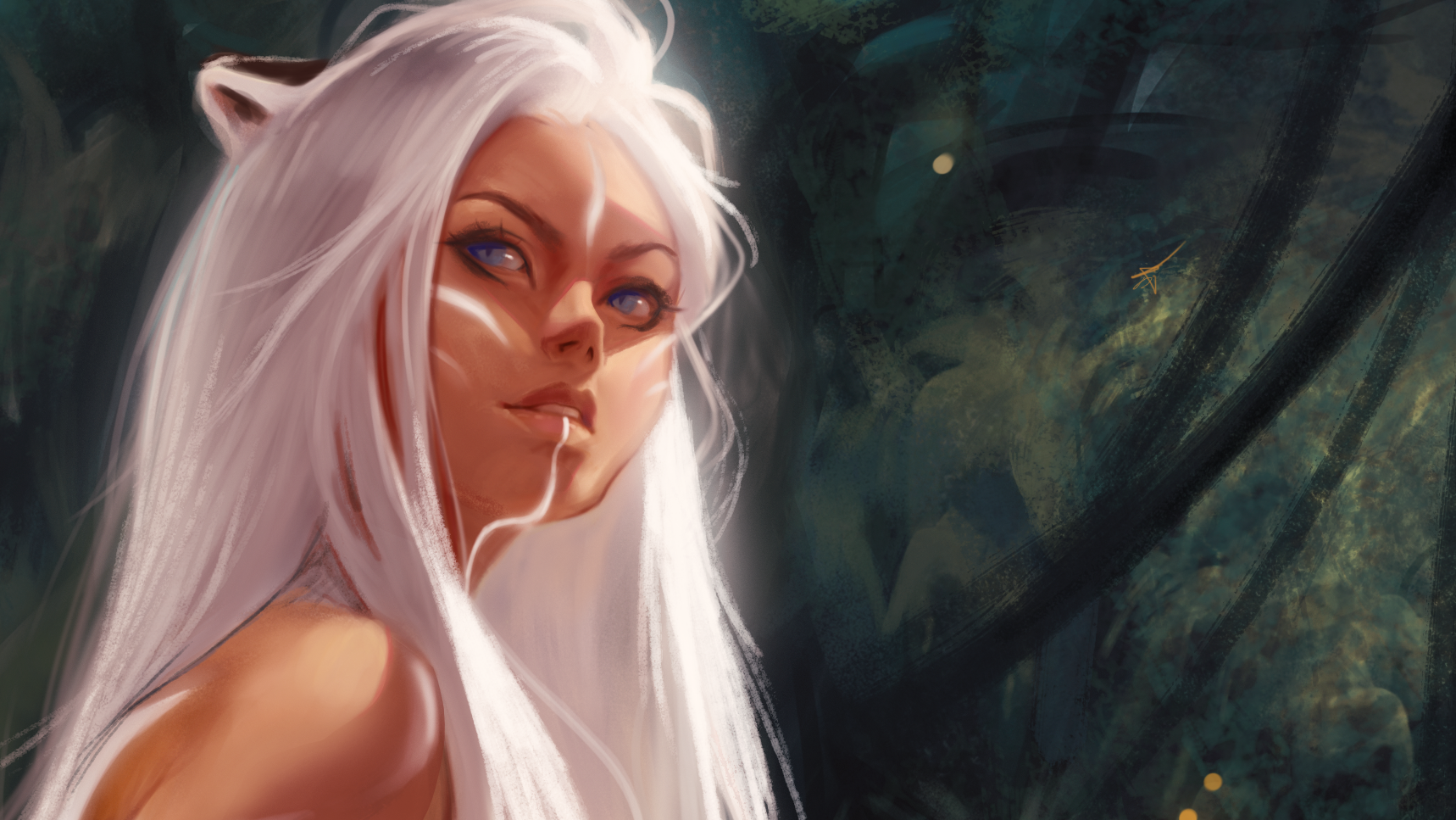 RAJNI - White Tiger - Few hunters dare walk in the heart of her jungle. Those brave enough to traverse the trees are only awarded a glimpse of the queen before they realize that they have become the prey.