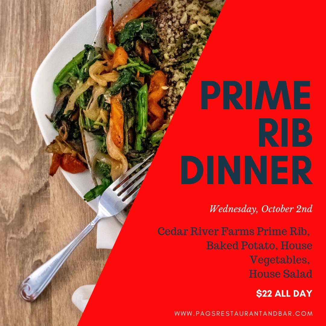 Prime Rib Dinner Pag S Restaurant