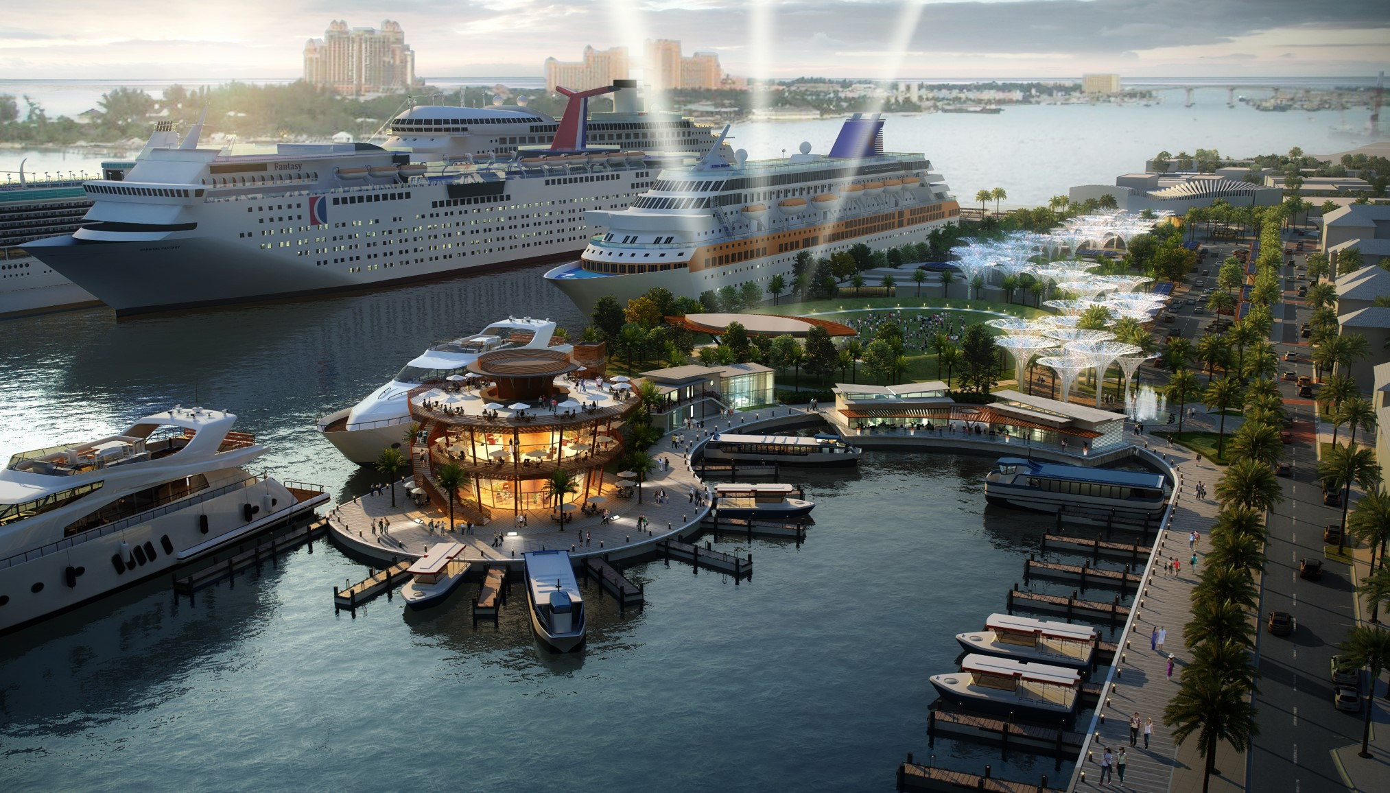 Waterfront rendering of future cruise port.