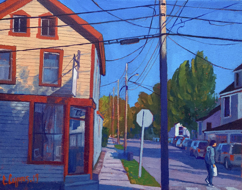 corner store - Burlington Vermont Oil on canvas 24cmx30cm© Chris Cyprus